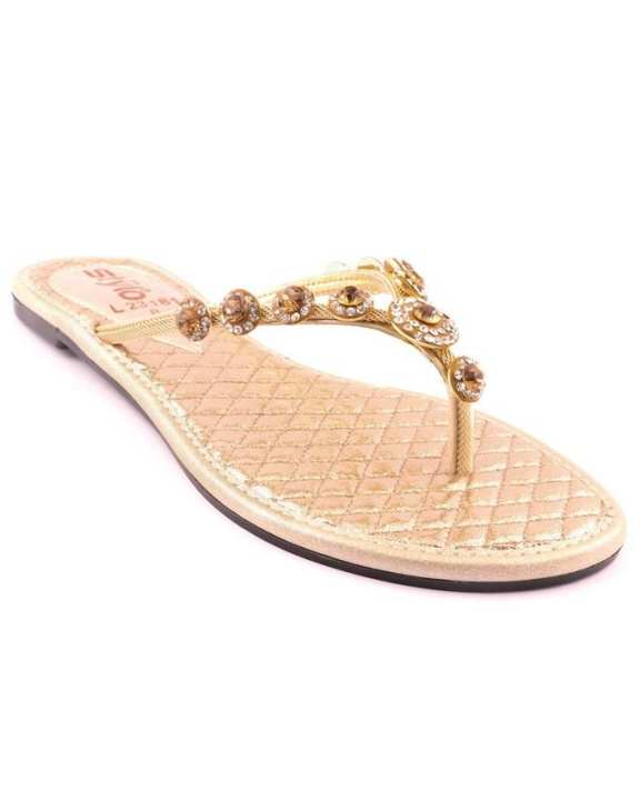 Golden Synthetic Casual Chappal for Women