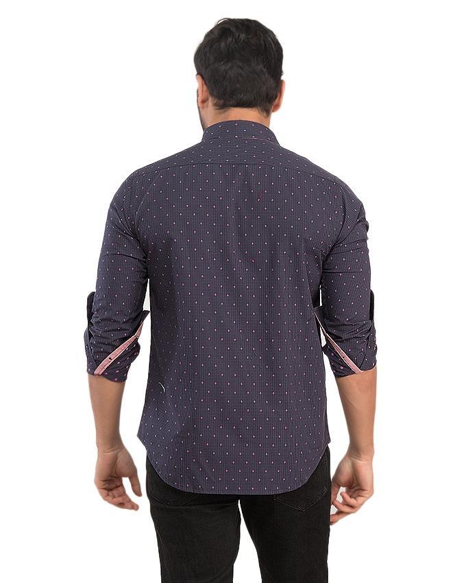 Dark Blue & Light Green Cotton Printed Shirt For Men