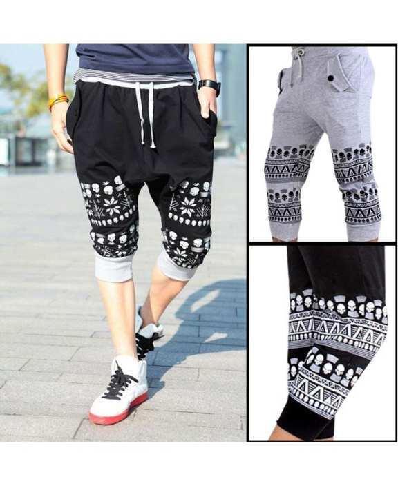 Pack Of 2 - Black & Grey Fleece Printed Shorts For Men