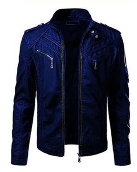 Blue Faux Leather Highstreet Jacket for Men