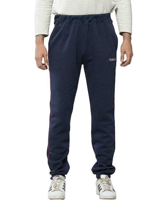 Navy Blue Cotton & Polyester Trouser for Men