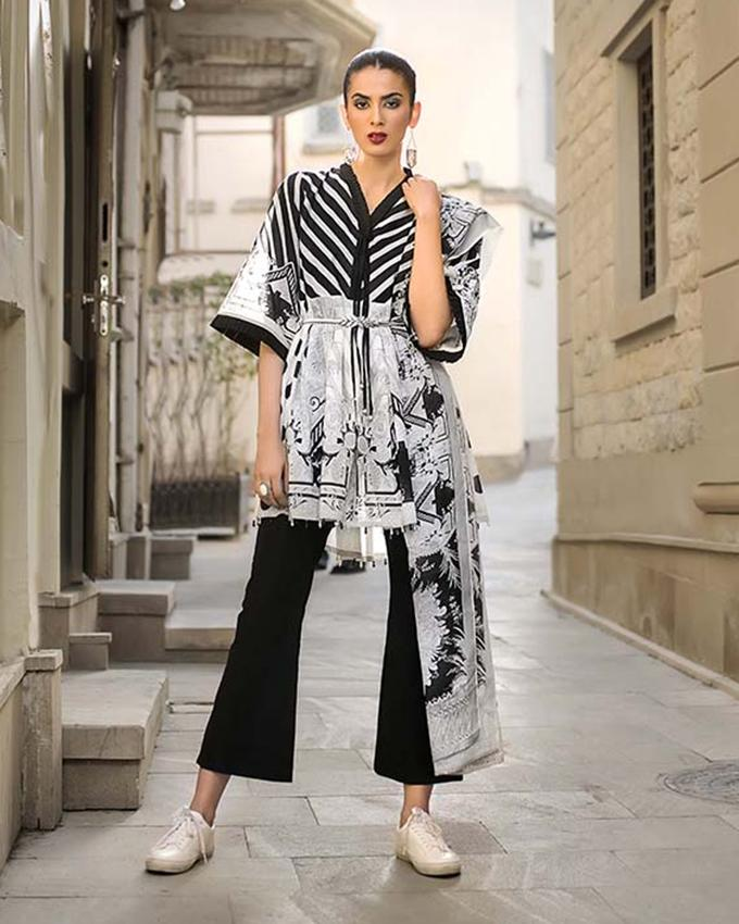 3b25768a6d Gul Ahmed - Black & White 3 PC Unstitched Printed Suit Dupatta, Printed  Shirt &