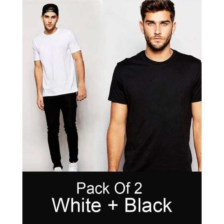 Pack Of 2 - White And Black Cotton Plain Tshirts For Men
