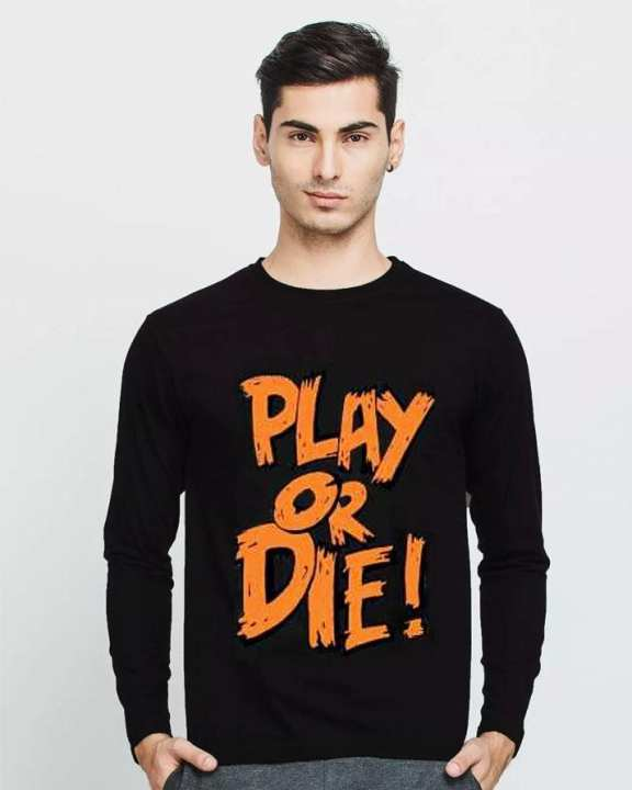 Black Cotton Play Or Die Full Sleeves Round Neck T-Shirt For Men