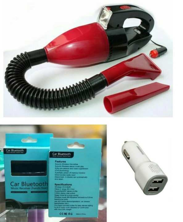 Portable Car Vacuum Cleaner With Remax Car Charger and Car Bluetooth mp3 Receiver