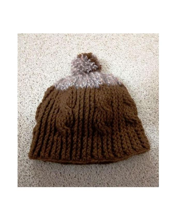 Hand Knitted Crochet Cable Pattern Beanie