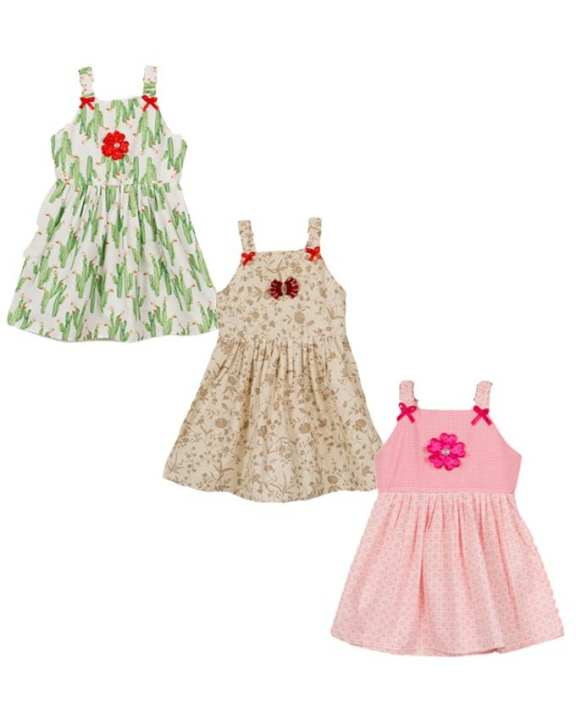 BrandStitch Pack Of 3 - Cotton Printed Summer Baby Frocks - Multicolor