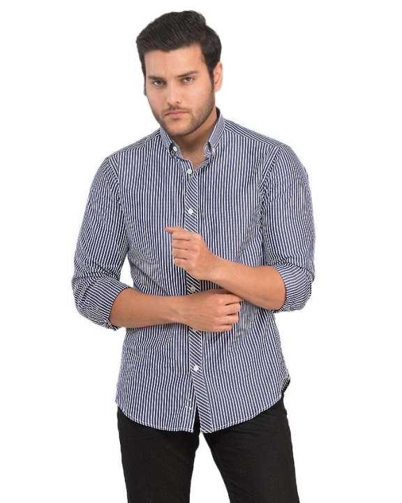 Blue & White Cotton Linen Shirt For Men