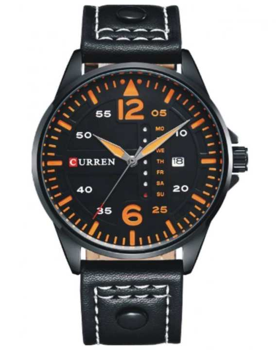 Black Leather Analog Watch For Men - 8224