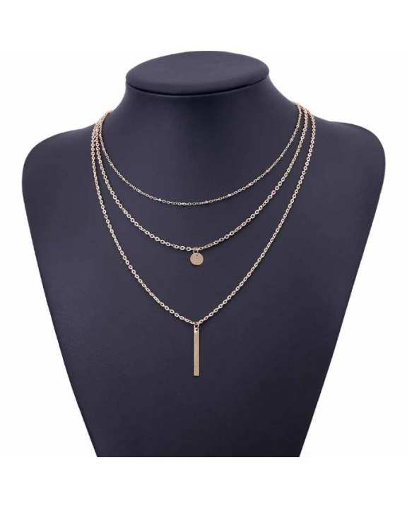 Golden Multi Layers Bar Coin Necklace Clavicle Chains