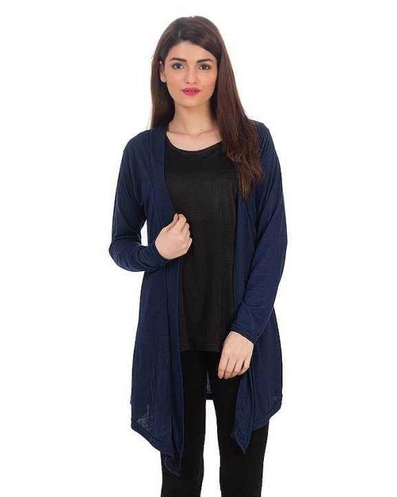 Navy Blue Cotton Jersey Shrug for Women - CWC211