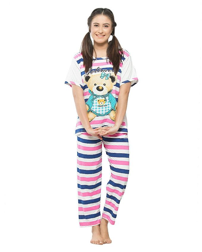 72432d643f Blue   White Jersey Printed Night Suit