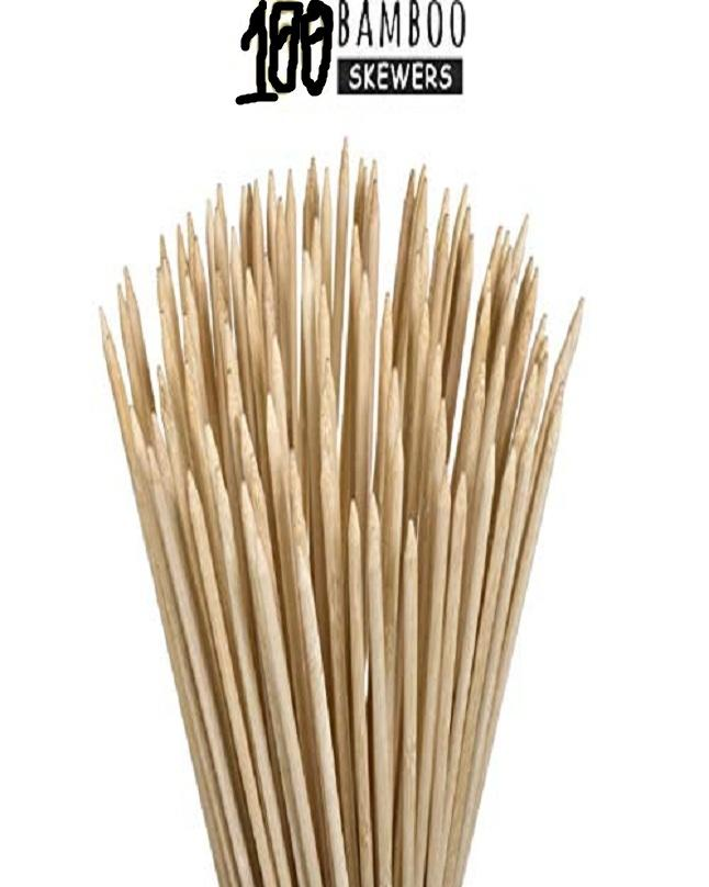 Bamboo Wooden Skewers Stick For Oven-Perfect For  Kabab,Paneertikka,Seekh,Barbeque And Grilling- 100 Sticks 12''