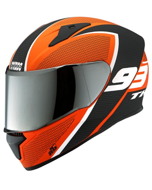 Thunder D3 Decor with Mirror Visor Helmets Orange