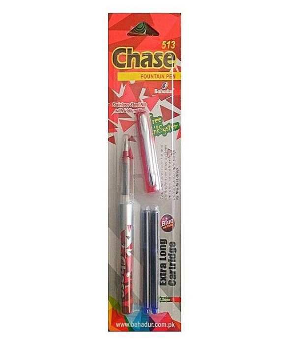 Chase Fountain Pen With 2Pcs Free Extralong Ink Catridges