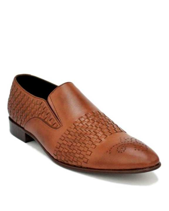 JC-113-Mustard Leather Half Weaved Moccasins