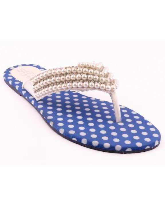White & Blue Synthetic Casual Chappal for Women