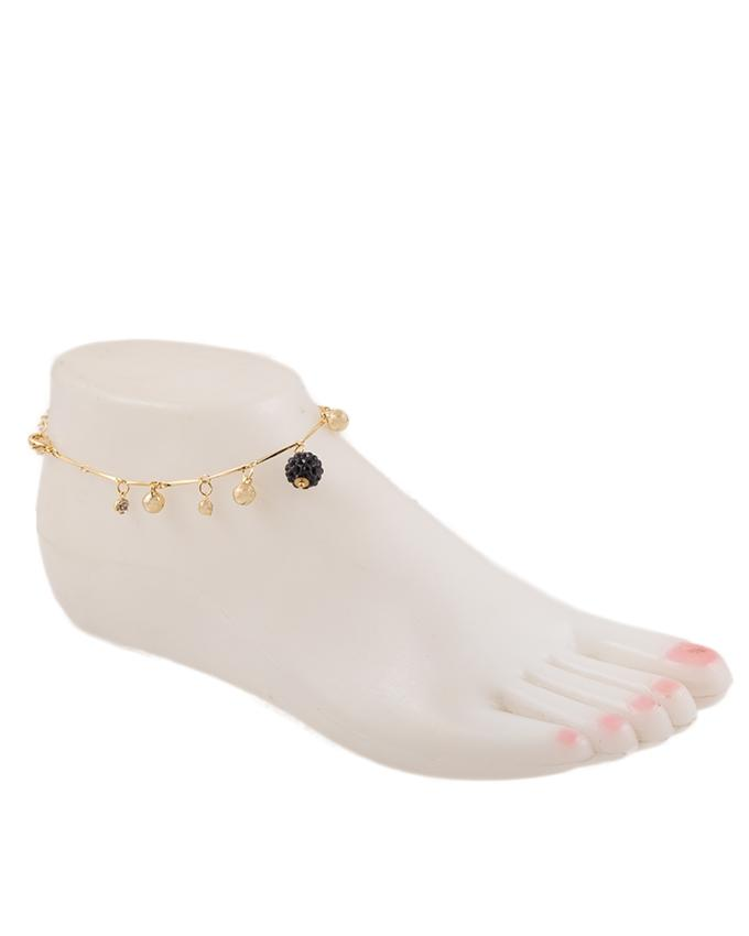 Golden Zircon & Alloy Studded Anklet for Women - GEP-8