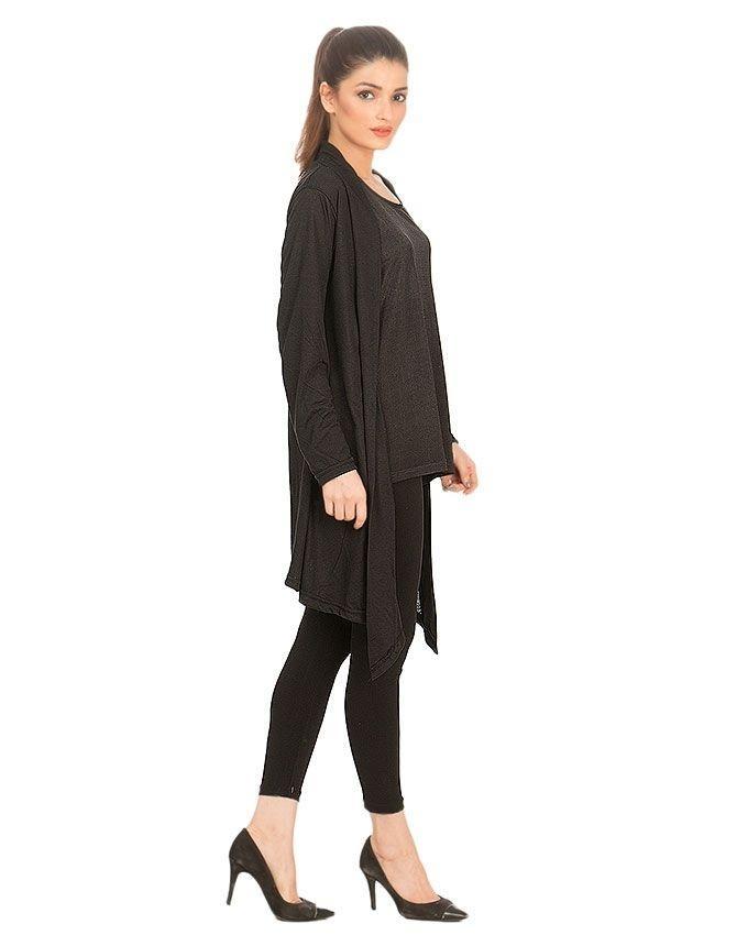 Black Cotton Shrug for Women - GOL-BWS-987