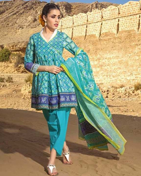 Turquoise  Normal Printed 3 Pcs Lawn-Unstitched
