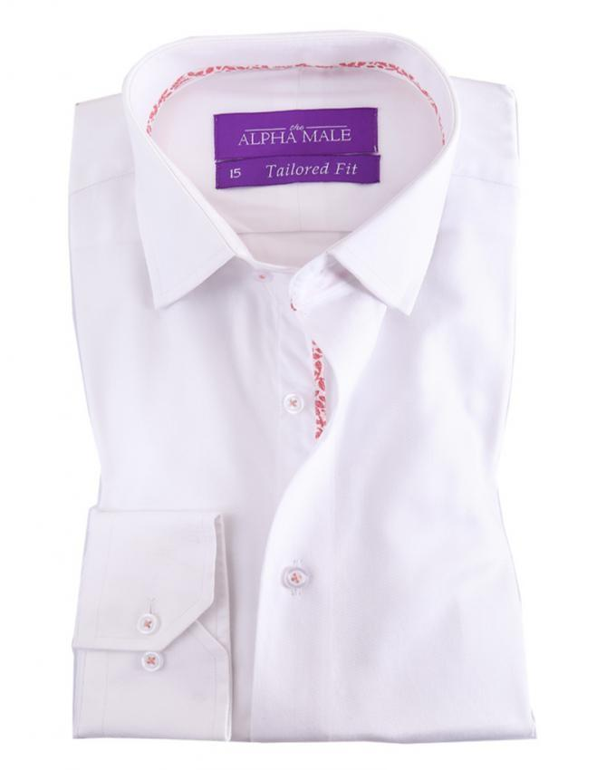 White Pure Egyptian Cotton Twill Shirt for Men