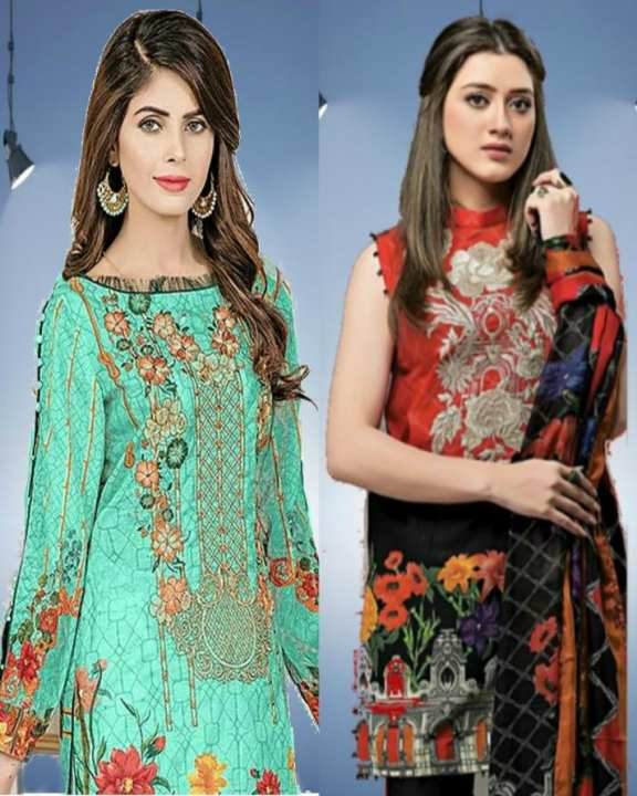 Pack Of 2 - Printed & Embroidered Lawn Unstitched Suits - 3Pcs