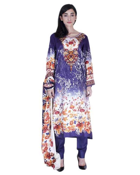 Purple Classic Cotton Printed Unstitched Suit For Women - 3 Pieces