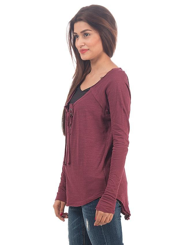 Maroon Cotton T-Shirt for Women