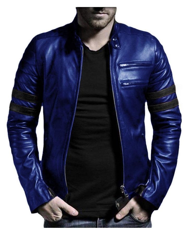 Blue - Leather Jacket For Men