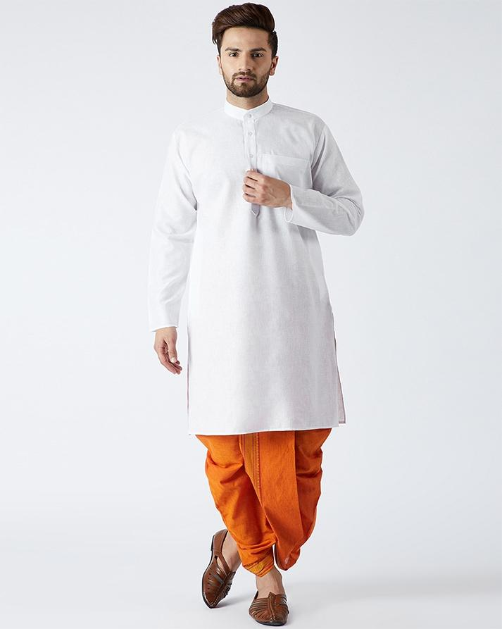 597642a3f112ca White Solid Kurta with Dhoti Pants For Men
