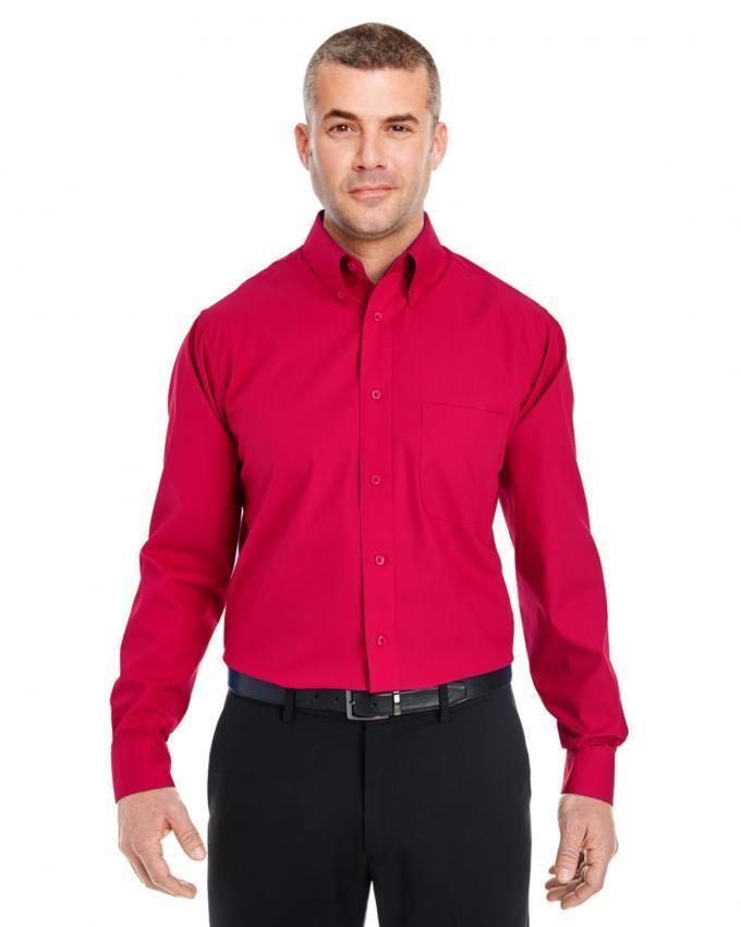 Men Cotton Fabric Red Shirt