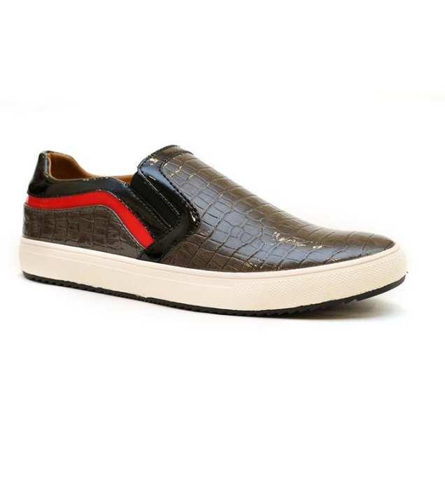 Grey Leather Men Sneakers Slm02-Grey