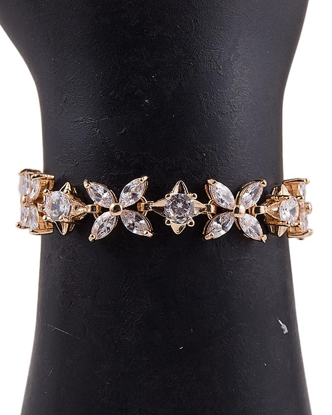 Golden Alloy Studded Bracelet for Women