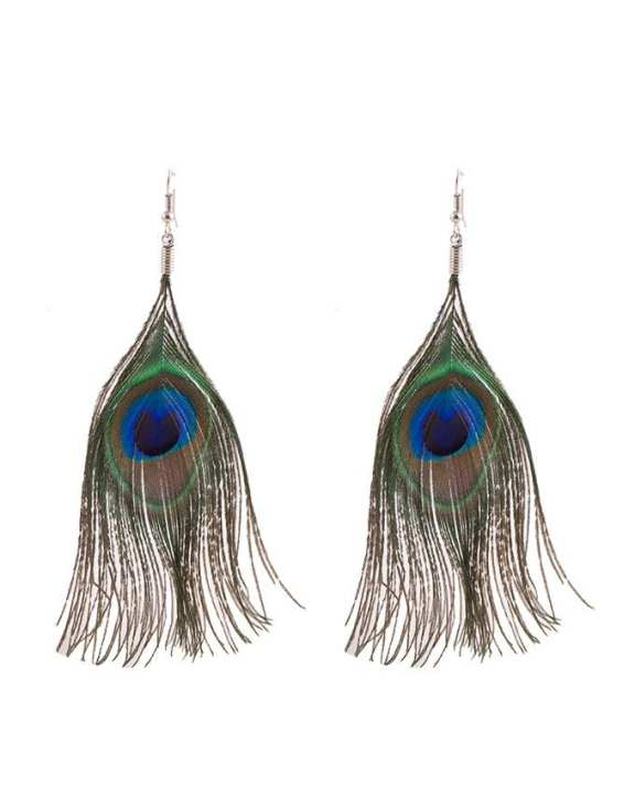 Women Earing in Real Feather