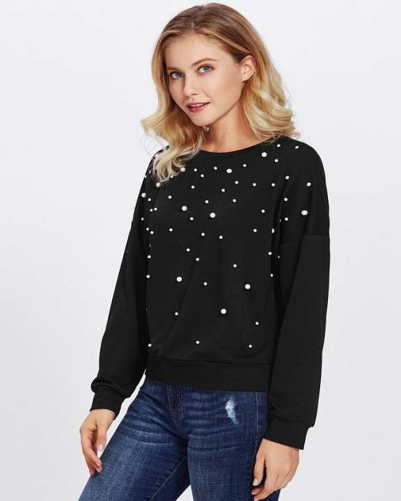 Pearls Black Sweatshirt For Women