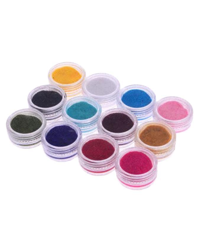 Pack of 12 - Velvet Nail Art Glitter Set - Multicolor