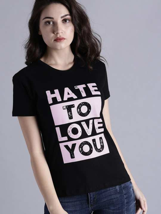 Black Hate To Love Printed T-shirt For Women