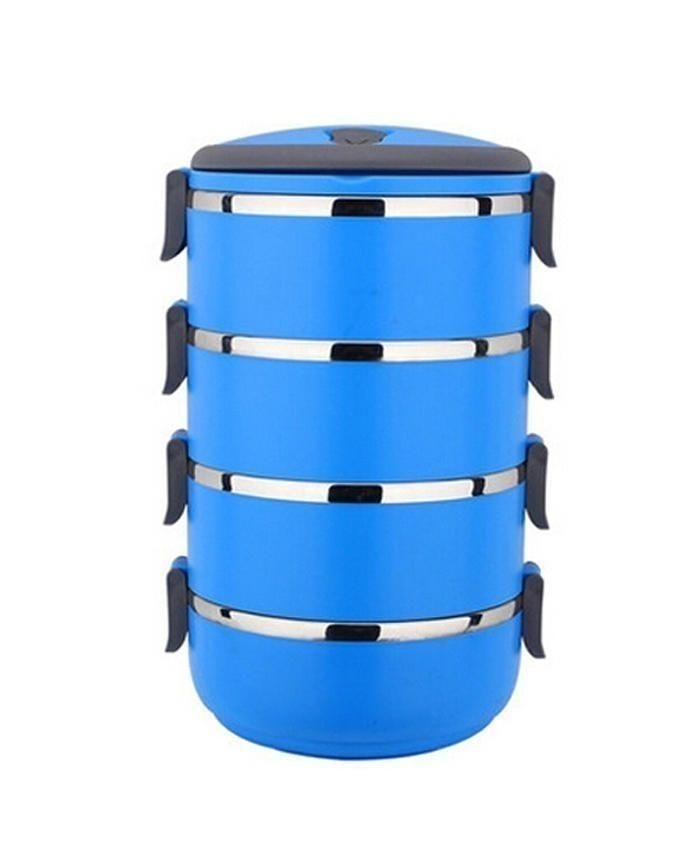Stainless Steel Lunch Box - 4 Layers - Blue & Black
