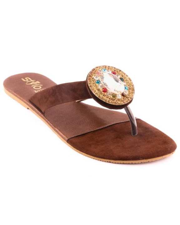 Brown Synthetic Casual Chappal for Women