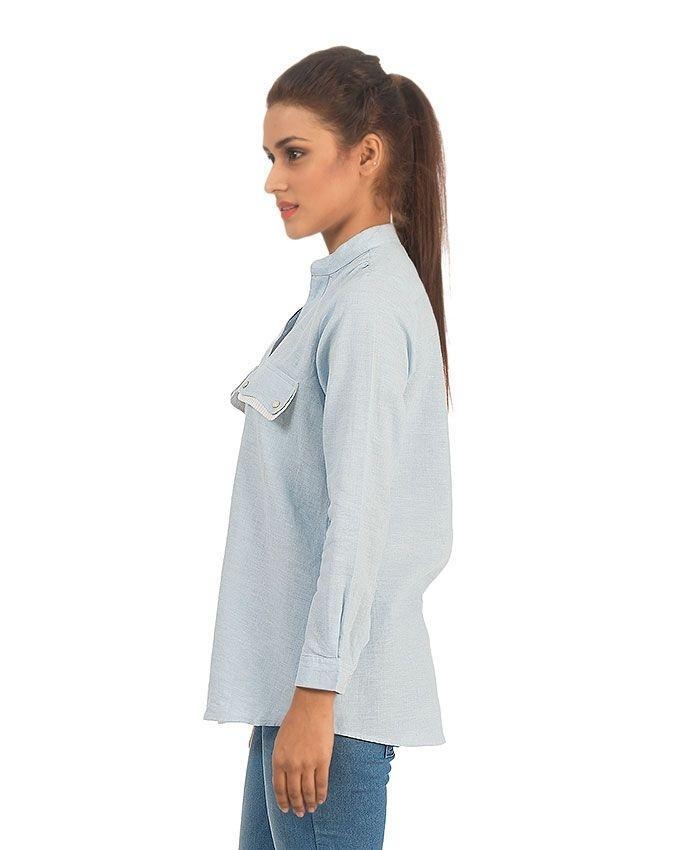 Light Blue Linen Cotton Button-down Shirt with Flap Pockets for Women