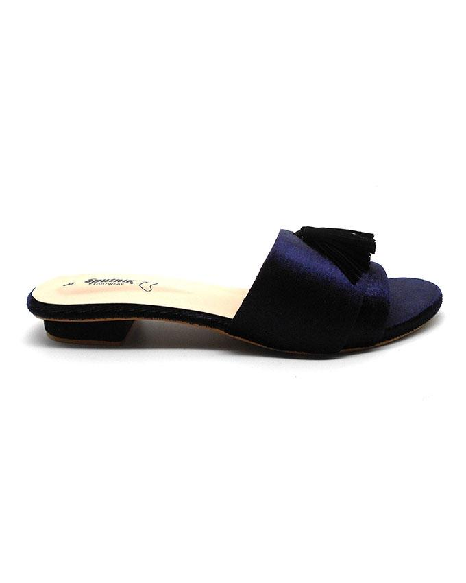 Navy Blue Satin Slipper With Half Inch Heel For Women 2201/005