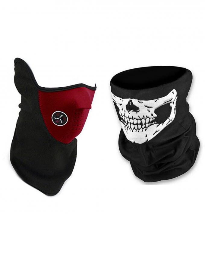 Pack of 2 - Face Masks - Black & Red