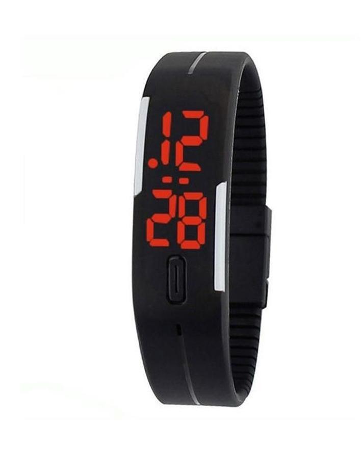 Black Rubber Led Bracelet Watch For Men