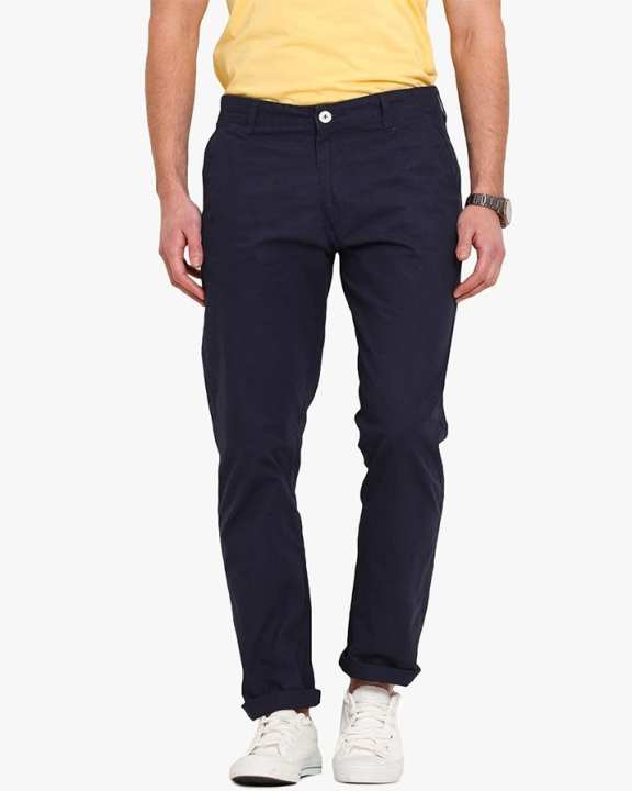 Men Navy Blue Tailored Slim Fit Solid Chinos