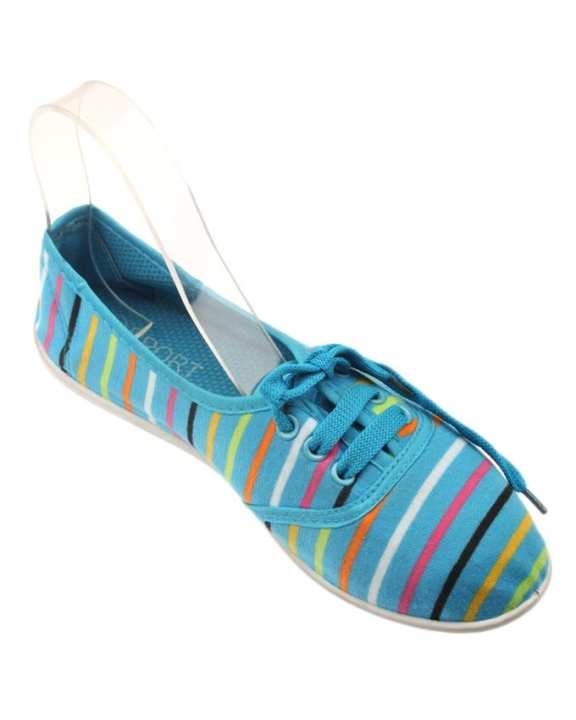 Blue Canvas Slip On Rubber Dye Toms For Women - II235