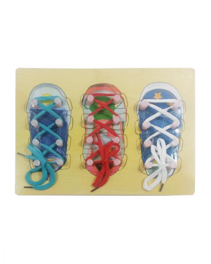 Shoe Tie - Wooden Activity Puzzle - Multi Color
