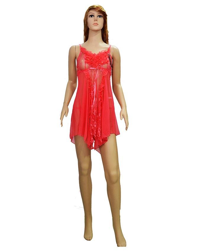 Pink Lace Net Short Nighty - 8130P