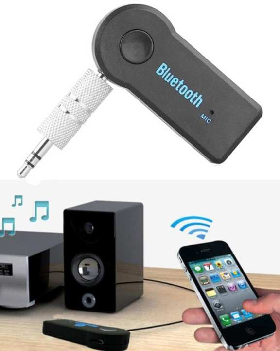 Car Bluetooth Receiver Adapter 3.5mm Aux Audio Stereo Music - Black