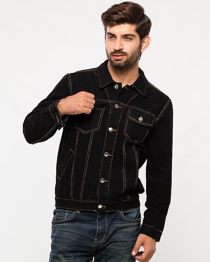 6c835b9938 Pitch Black Denim Traditional Jacket with Grey All-over Stitching for Men