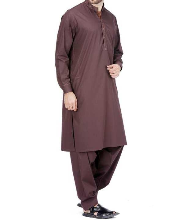 Lever Brown Cotton Regular Kameez Shalwar